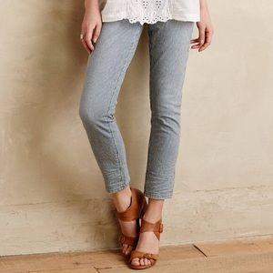 Anthro Pilcro Stet Railroad Stripe Cropped Jeans
